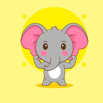 Cartoon illustration of cute strong elephant