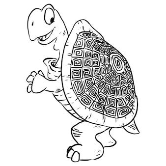 Cartoon illustration of a cute tortoise turtle.