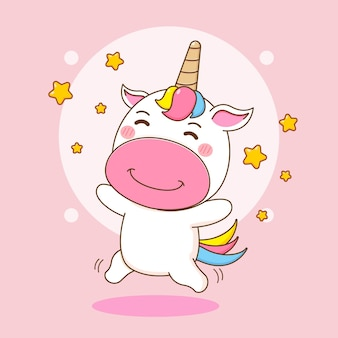 Cartoon illustration of cute unicorn character jumping with stars around