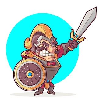 Cartoon illustration of cute warrior.