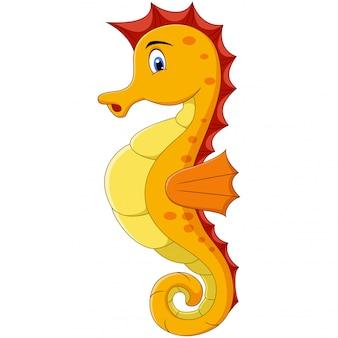 Cartoon illustration of cute a yellow seahorse
