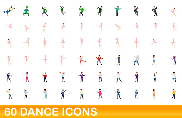 Cartoon illustration of dance icons set isolated on white