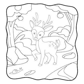 숲 책이나 어린이 흑백 페이지에서 걷는 만화 그림 사슴