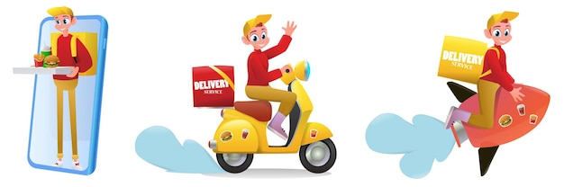 Cartoon illustration delivery service set