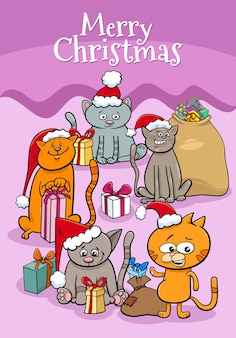 Cartoon illustration design or greeting card with kittens characters on christmas time