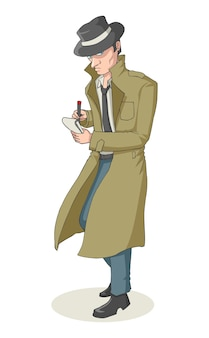 Cartoon illustration of a detective