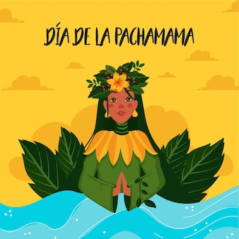 Cartoon illustration of dia de la pachamama banner template Premium Vector