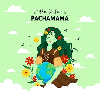 Cartoon illustration of dia de la pachamama banner template