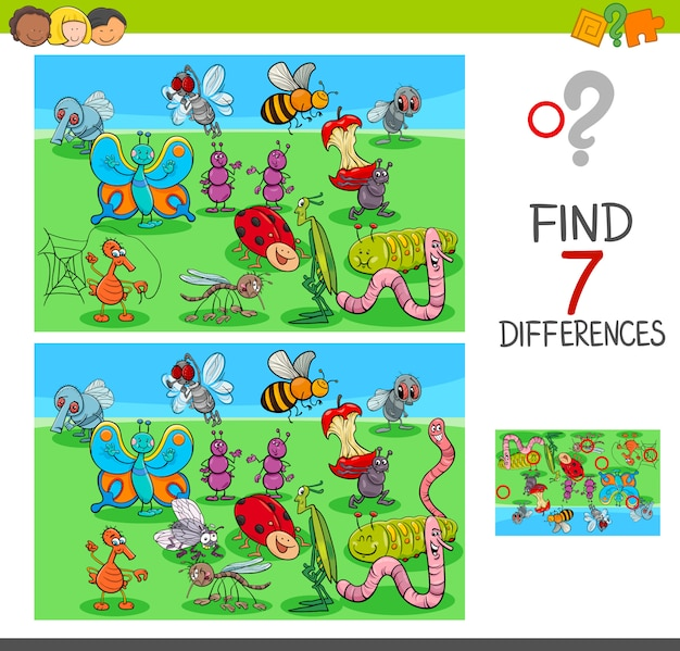 Cartoon illustration of differences game for children