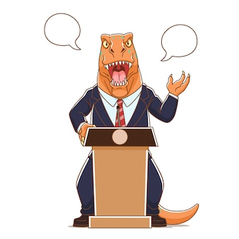 Cartoon illustration of dinosaur wearing suit talking on podium.