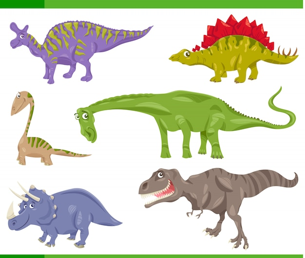 Cartoon illustration of dinosaurs prehistoric set