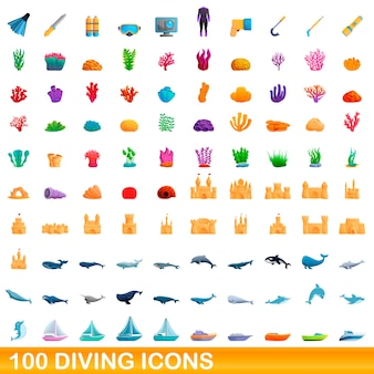 Cartoon illustration of diving icons set isolated on white