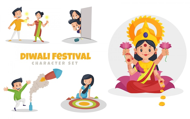 Cartoon illustration of diwali festival character set