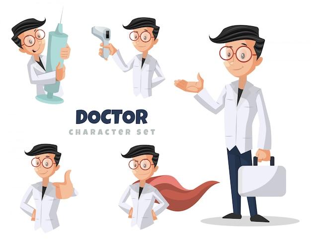 Cartoon illustration of doctor character set