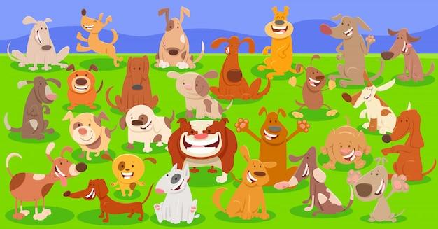 Cartoon illustration of dog characters background