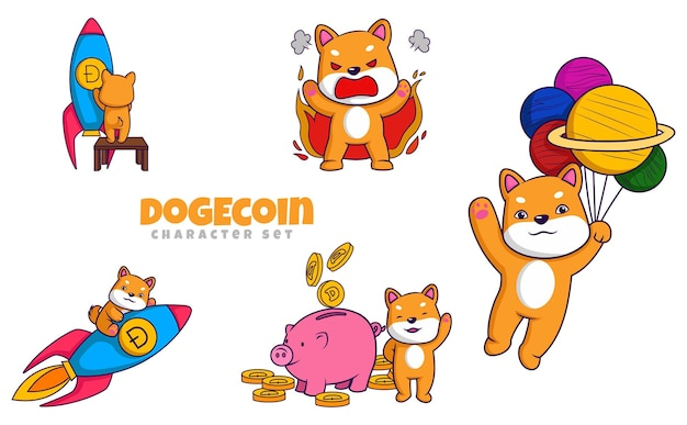 Cartoon illustration of dogecoin character set