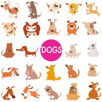 Cartoon illustration of dogs animal characters set