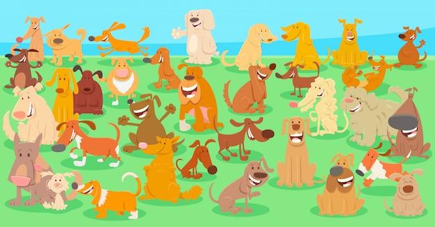 Cartoon illustration of dogs huge group background