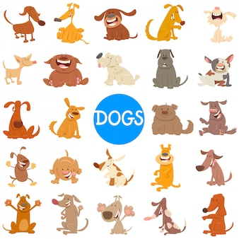 Cartoon illustration of dogs and puppies large set