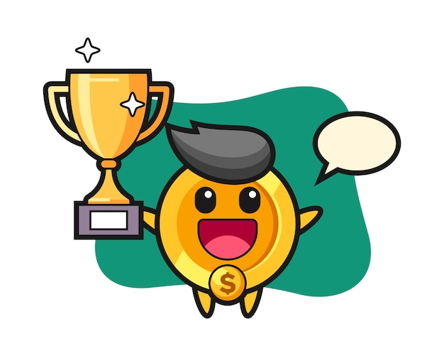 Cartoon illustration of dollar coin is happy holding up the golden trophy
