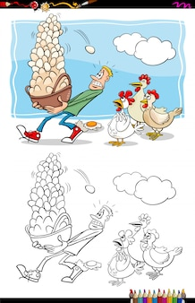Cartoon illustration of  dont put all your eggs in one basket saying coloring book activity