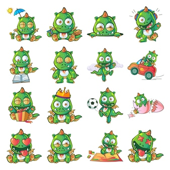 Cartoon illustration of dragon set