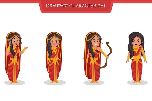 Cartoon illustration of draupadi character set