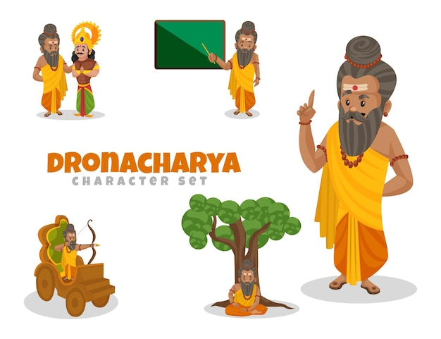 Cartoon illustration of dronacharya character set