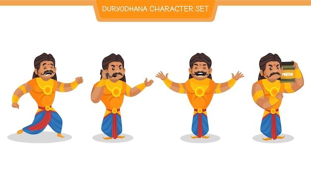 Cartoon illustration of duryodhana character set
