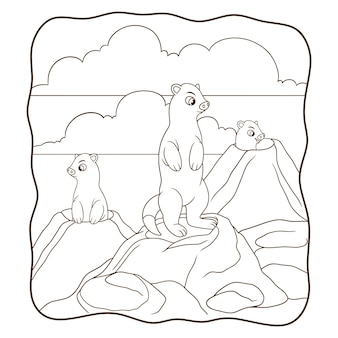 Cartoon illustration earth pig standing in the hole book or page for kids black and white
