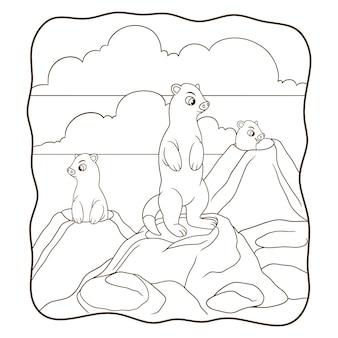 만화 그림 지구 돼지는 구멍 책이나 어린이를 위한 페이지에 서 있습니다.