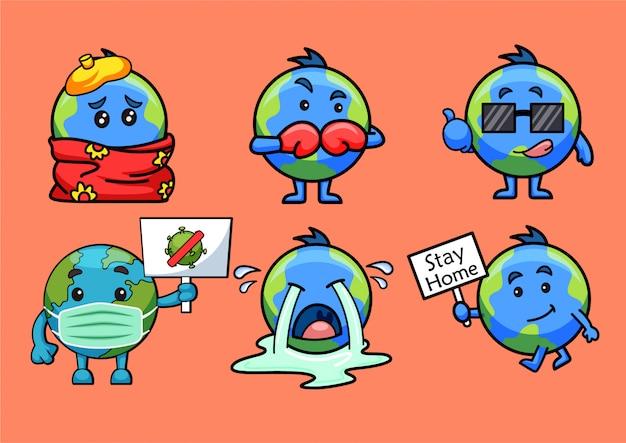 Cartoon illustration of earth stickers