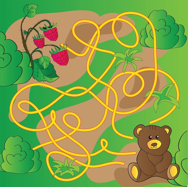 Cartoon illustration of education maze or labyrinth game for preschool children with funny bear animal and raspberries