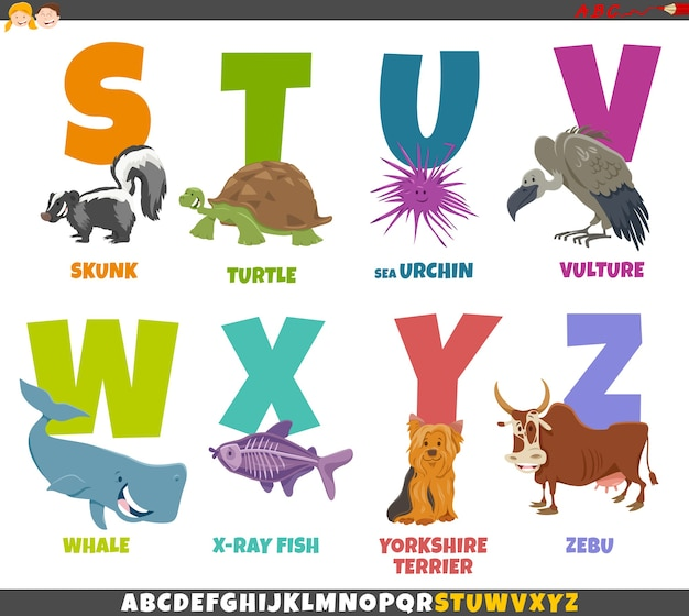 Cartoon illustration of educational alphabet set from s to z with animals