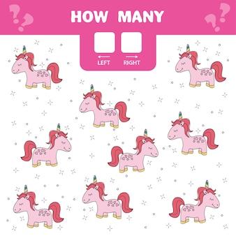 Cartoon illustration of educational game of counting left and right picture for children - pink unicorn