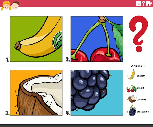 Cartoon illustration of educational game of guessing fruits activity for children