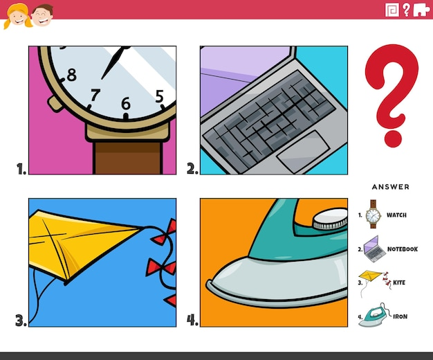 Cartoon illustration of educational game of guessing objects activity for children