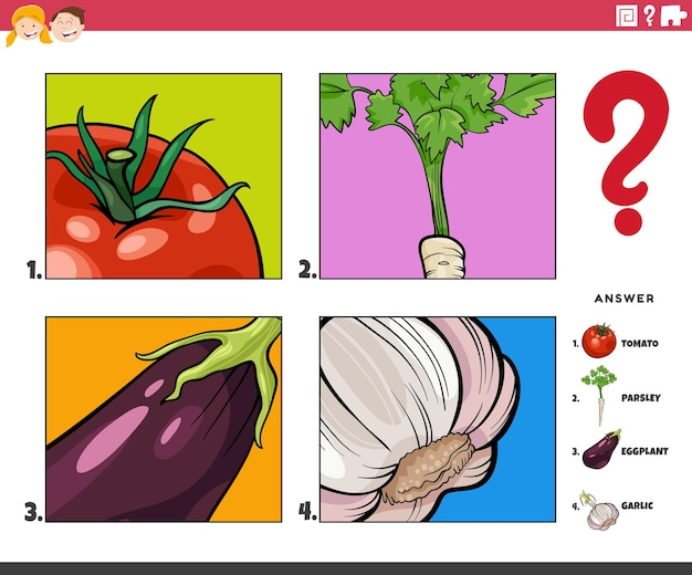 Cartoon illustration of educational game of guessing vegetables activity for children