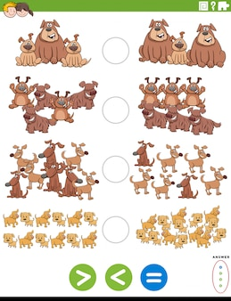 Cartoon illustration of educational mathematical puzzle task of greater than, less than or equal to for children with dogs animal characters worksheet page