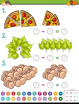 Cartoon illustration of educational mathematical subtraction puzzle task for children with objects