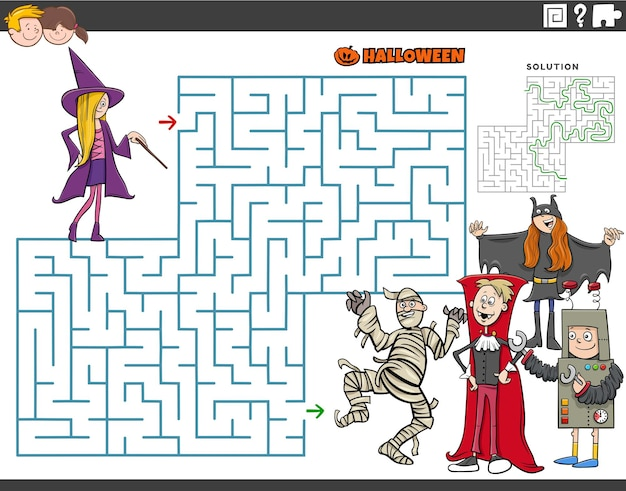 Cartoon illustration of educational maze puzzle game with kids on halloween time
