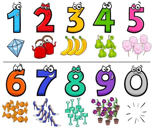 Cartoon illustration of educational numbers set