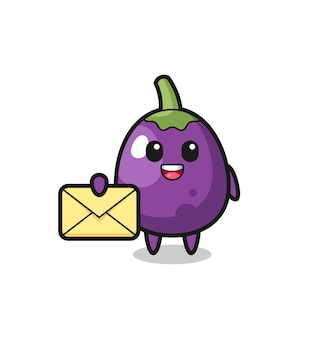 Cartoon illustration of eggplant holding a yellow letter cute eggplant character is holding an old telescope
