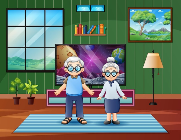 Cartoon illustration of the elderly couple at home