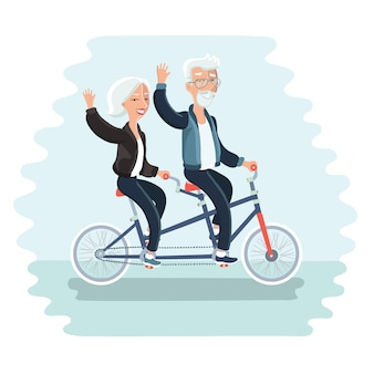 Cartoon illustration of elderly couple riding a bicycle tandem