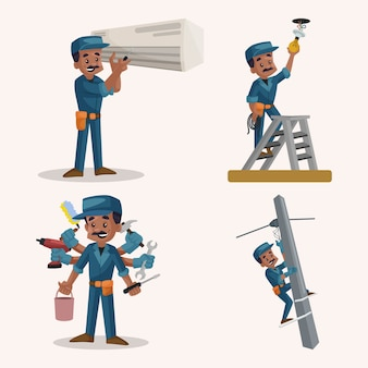 Cartoon illustration of electrician character set