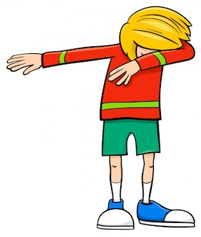 Cartoon illustration of elementary age or teenager dabbing boy character