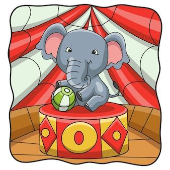 サーカスでボールを遊ぶ漫画イラスト象