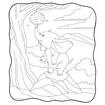 Cartoon illustration elephant trying to take a bee's nest book or page for kids black and white