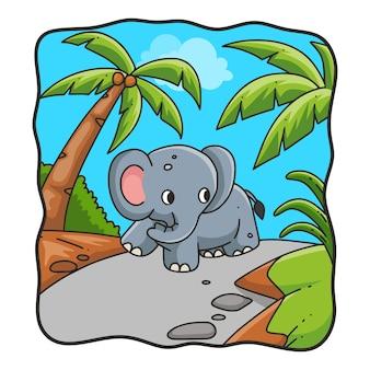 森の中を歩く漫画イラスト象